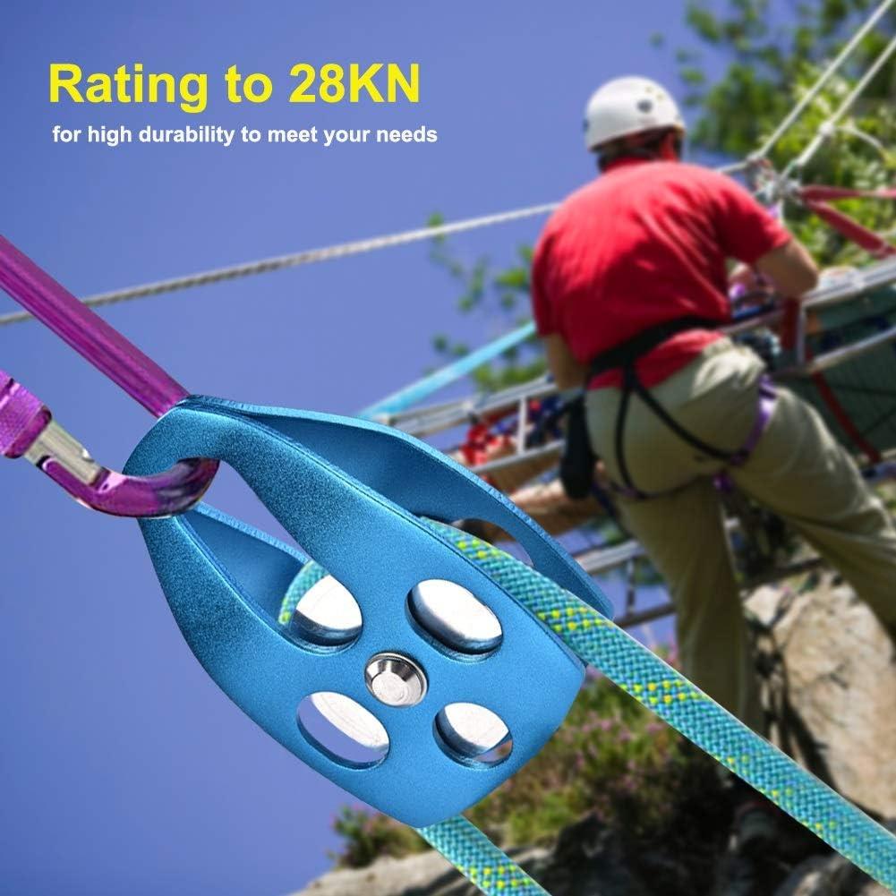 MAGT Rope Pulley Outdoor Climbing 28KN Rescue Puleggia Singola Puleggia con Piastra Girevole per Arrampicata su Roccia Blu