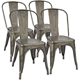 Furmax Metal Dining Chair Indoor-Outdoor Use Stackable Classic Trattoria Chair Chic Dining Bistro Cafe Side Metal Chairs Gun Metal(Set of 4)