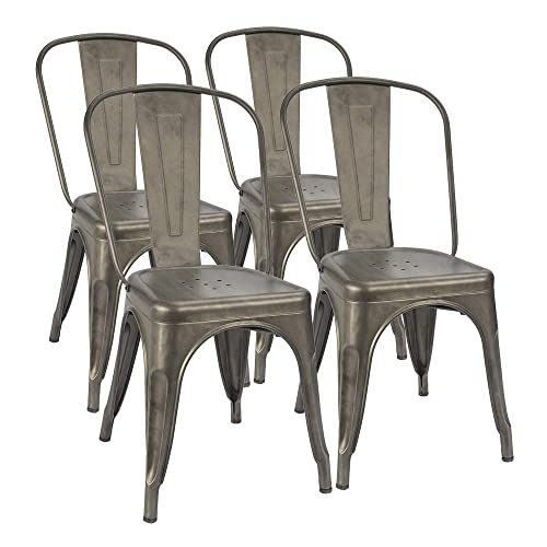 Furmax Metal Dining Chair Indoor-Outdoor Use Stackable Classic Trattoria Chair Chic Dining Bistro Cafe Side Metal Chairs Set of 4 Gun