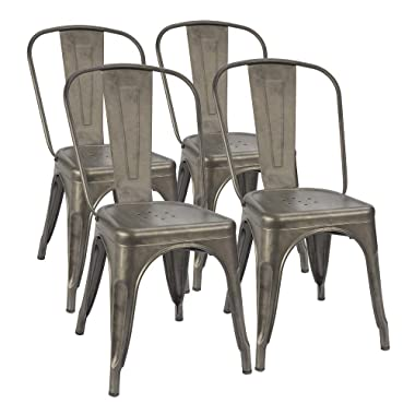 Furmax Metal Dining Chair Indoor-Outdoor Use Stackable Classic Trattoria Chair Chic Dining Bistro Cafe Side Metal Chairs Set of 4 (Gun)