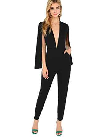 75ca95646575 Romwe Women s Elegant Plunging Neck Cloak Sleeve Solid Color Party Jumpsuit  Romper Black X-Small