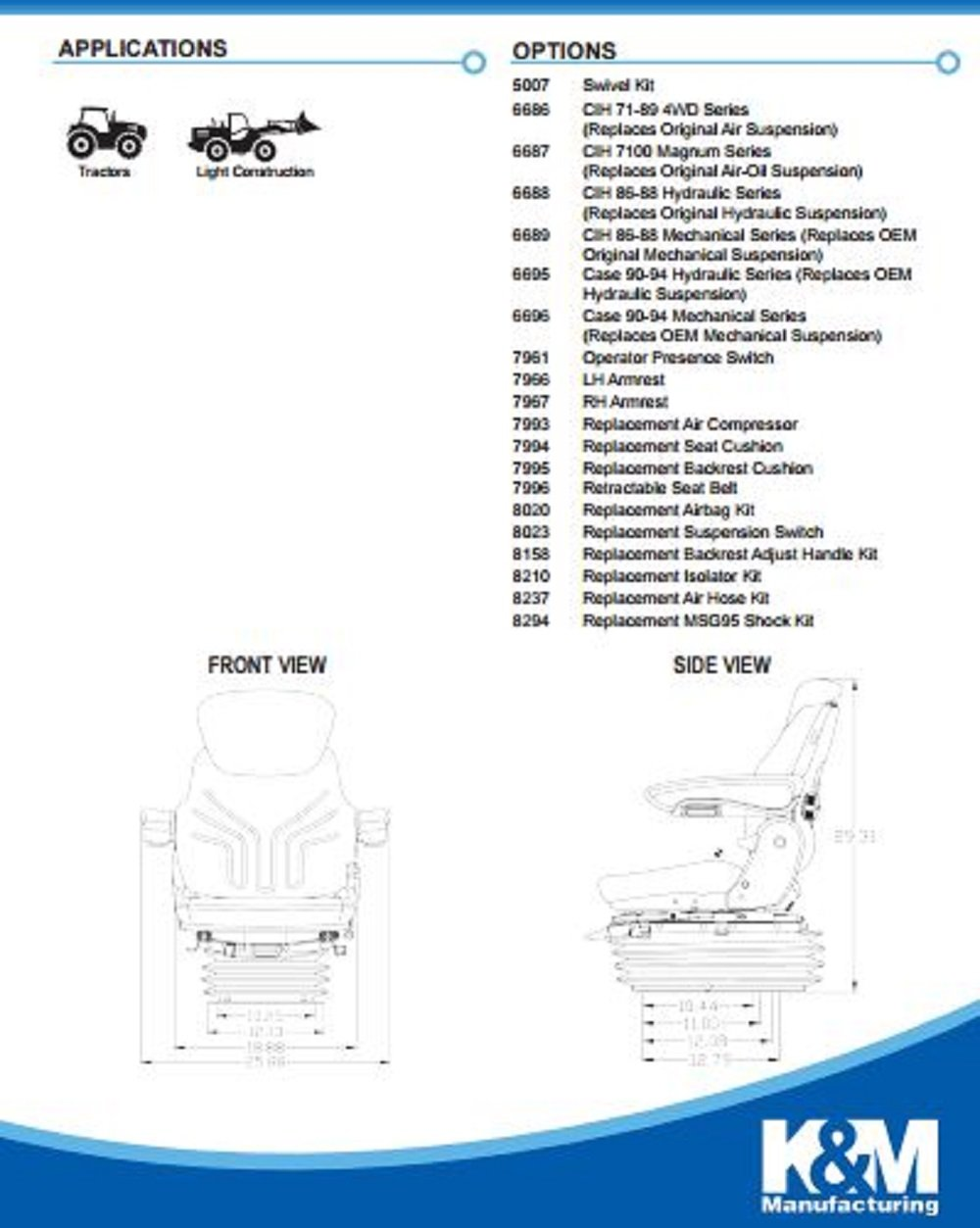 Km 1055 Uni Pro Seat And Suspension Rollers Wheel John Deere 8410 Wiring Diagram Case Ih Deutz Allis Ford New Holland Kubota Massey Ferguson Mccormick White Caterpillar Industrial Scientific