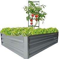zizin Galvanized Raised Garden Beds Metal Elevated Planter Box Steel Vegetable Flower Bed Kit Bottomless, Steel Patio (4 x 3 x 1ft)