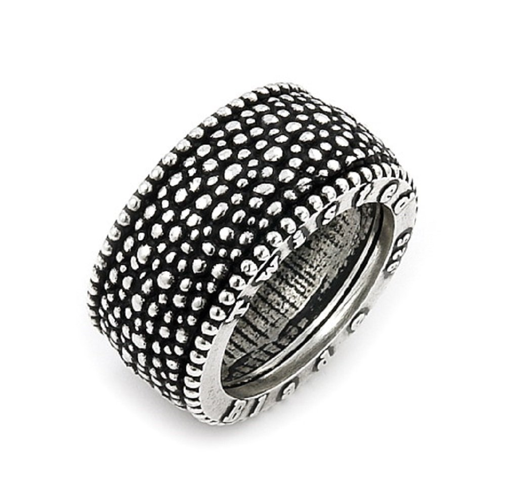 Twisted Blade 925 Sterling Silver Studded Band Ring Size 9