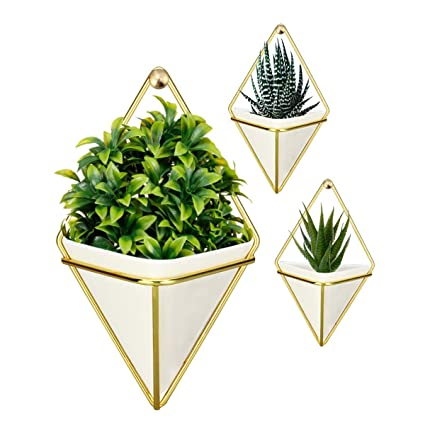 Gardening Use as Decorative Wall Mounted Hanging Planters For Indoor Plants or Unique Hanging Flower Vintage Homeware Set of 3 Glazed White Ceramic Planter Pots with DURABLE Screw-Plated Leather Strap