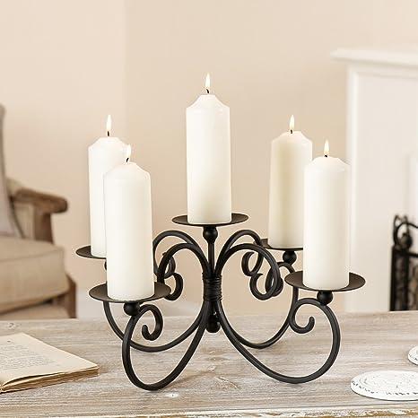 Ornate - Candelabro de pie, diseño de 5 pilares, color negro mate y base robusta para velas ...