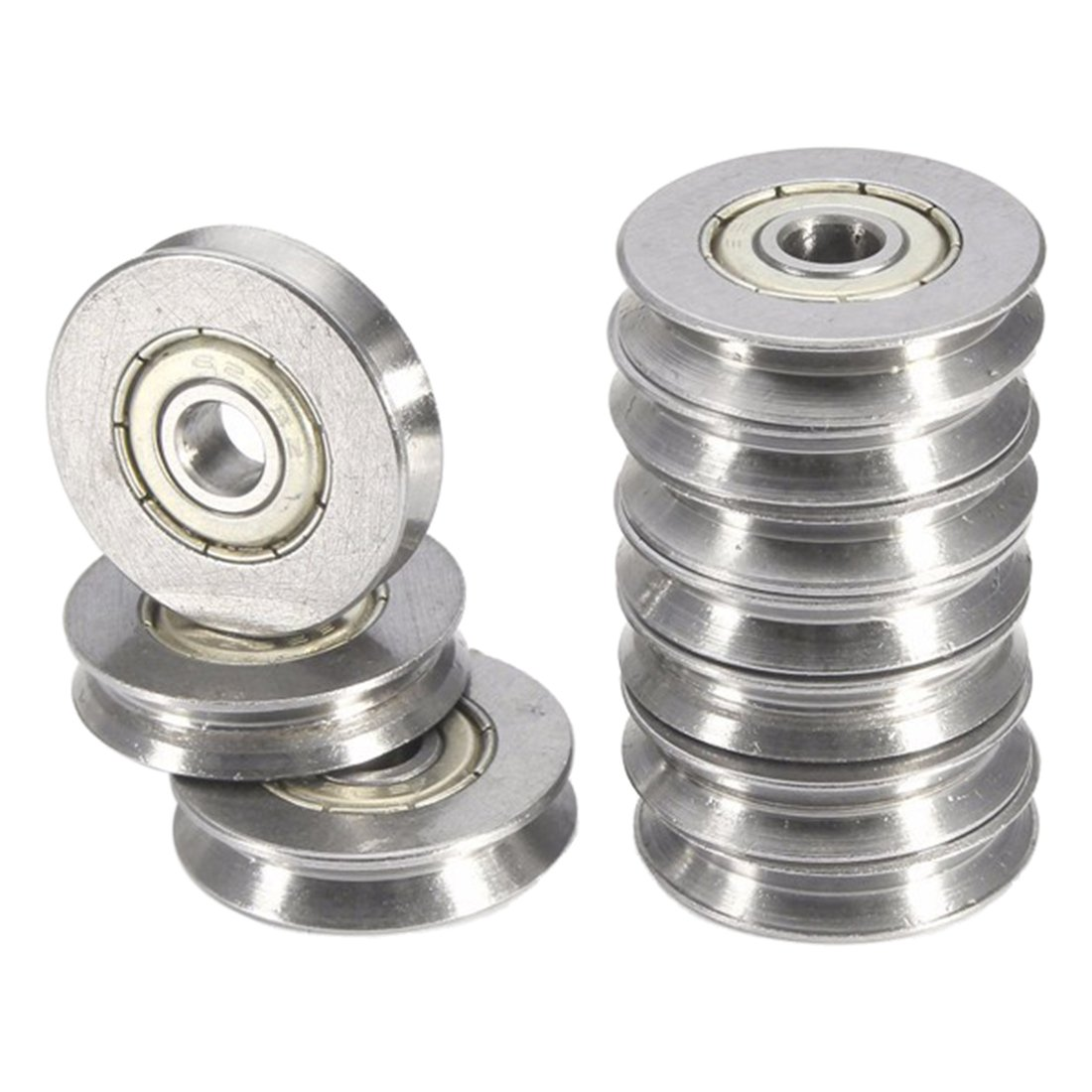 REFURBISHHOUSE 10PCS V625ZZ V Groove Vgroove Metal Sealed Ball Bearings 5X22X5mm Deep 1.5mm