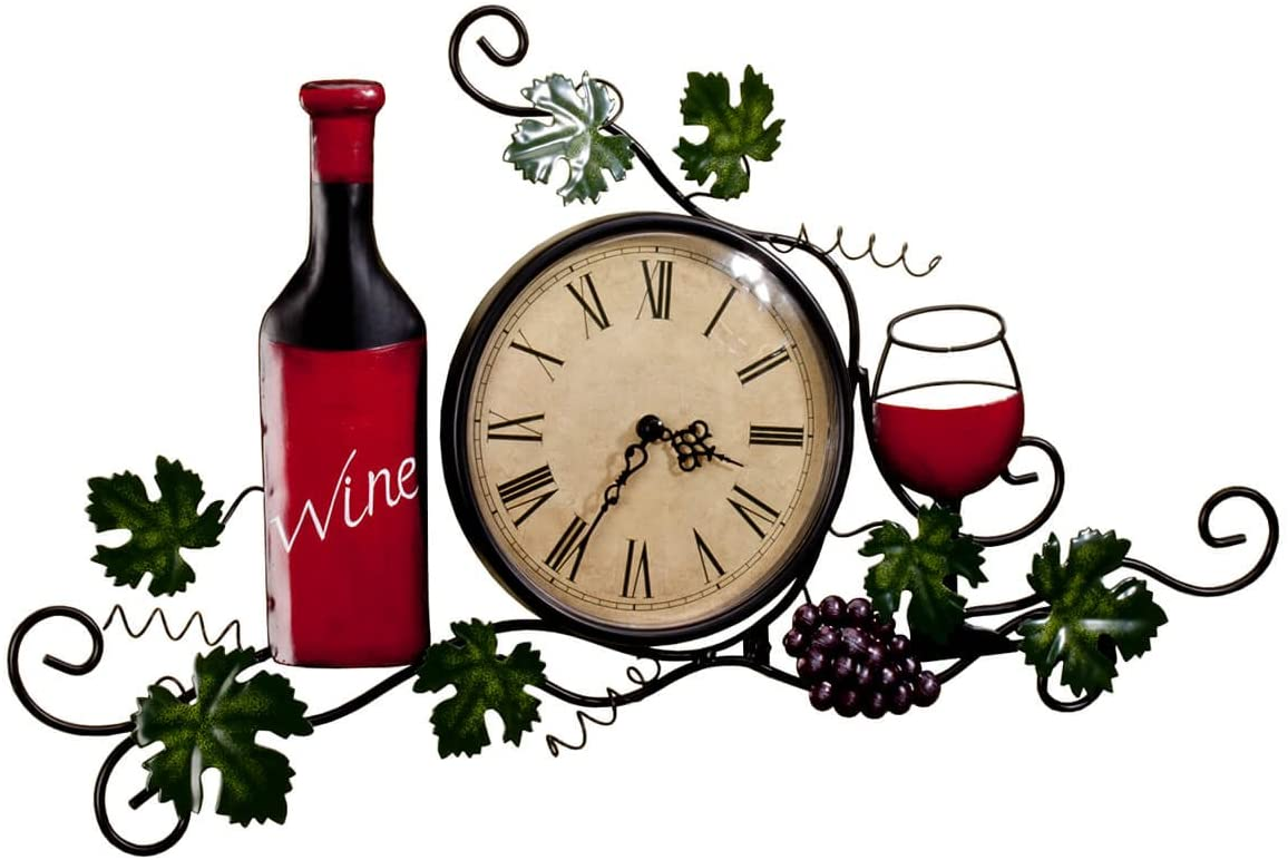Fox Valley Traders Wine Wall Clock, Roman Numeral, 6 Diameter Clock Face, Wall D cor