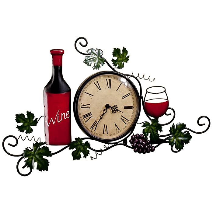 Fox Valley Traders Wine Wall Clock, Roman Numeral, 6 ¼ Diameter Clock Face, Wall Décor