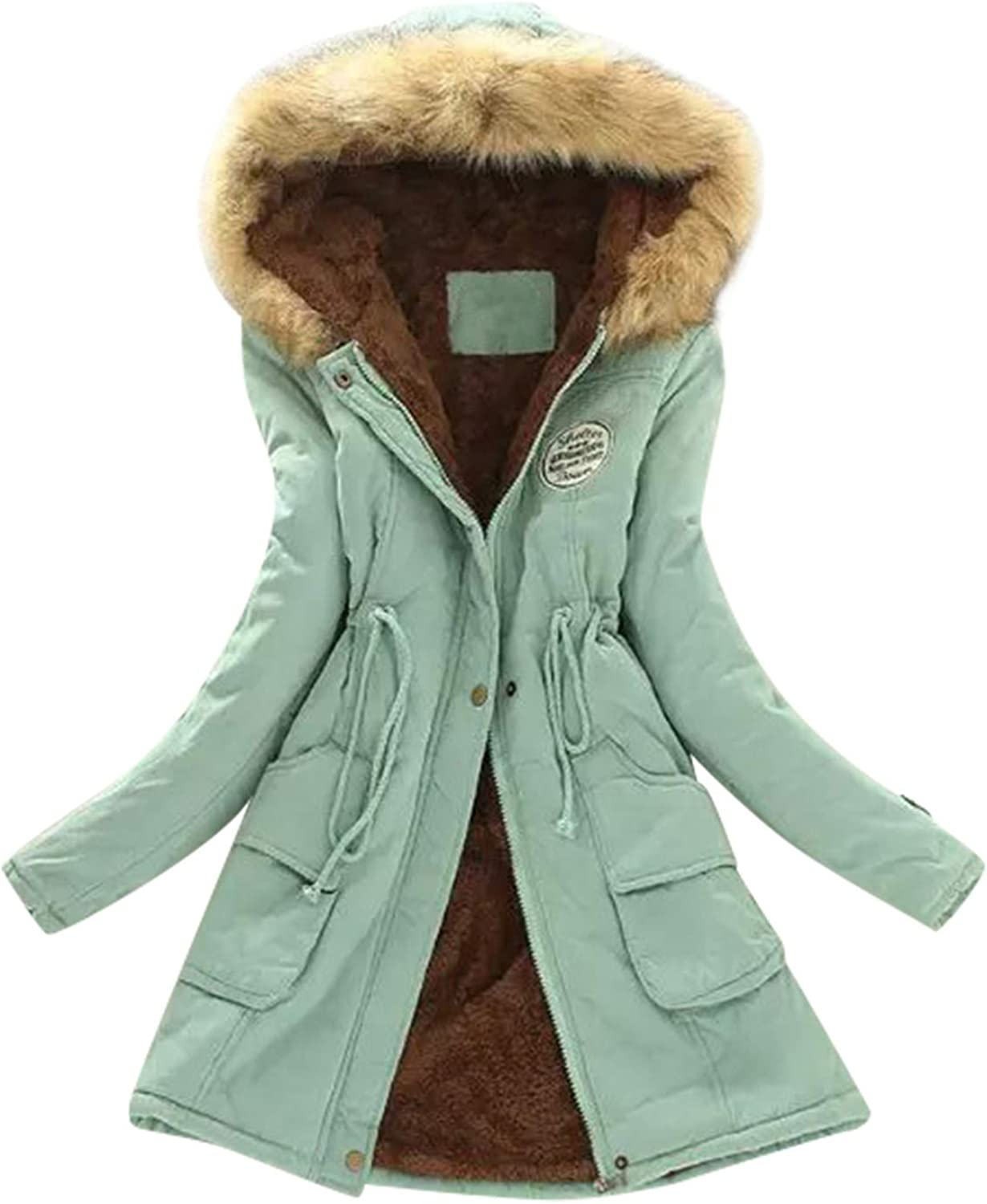Qinnyo Jacket Winter Coats for Women Hooded Warm Winter Parka Thicken Fleece Lined Parkas Long Coats with Fur Trim: Clothing