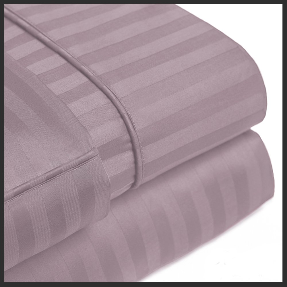 Twin Striped Lilac Wrinkle-Free Microfiber Sheet Set, deep pocket, 95gsm, 100% Microfiber.