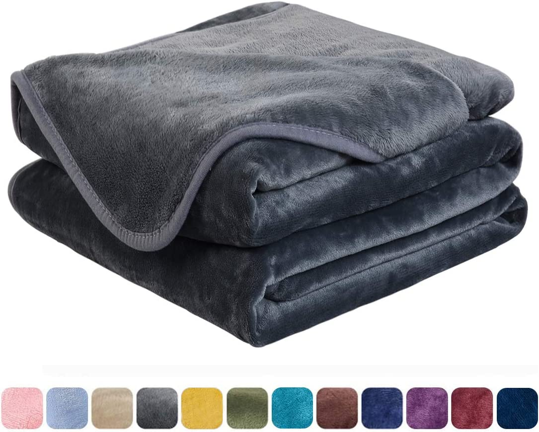 EASELAND Soft Twin Size Blanket All Season Warm Fuzzy Microplush Lightweight Thermal Fleece Blankets for Couch Bed Sofa,66x90 Inches,Dark Gray