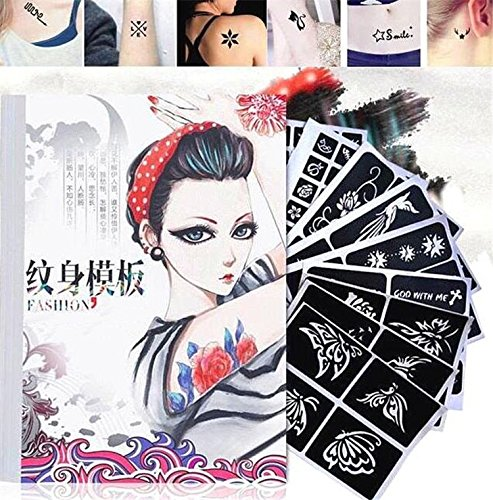 EatingBiting?R?12 Sheet 120+ Glitter Tattoo Stencils Temporary Body Art Airbrush Painting Kit Set Book, Temporary Tattoos Sexy Body Tattoo Sticker for Women Girl Fake Tattoo