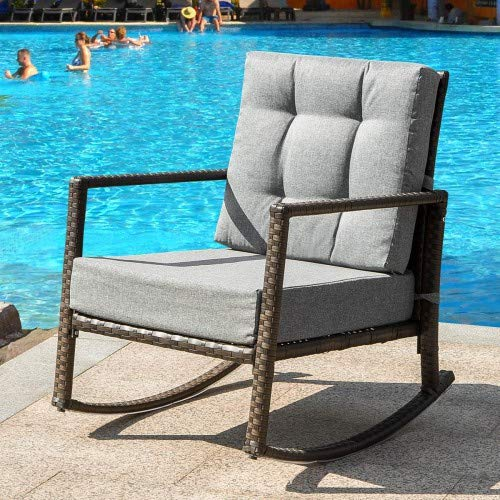 Merax Patio Rocking Chair Cushioned Rattan Rocker Chair All-Weather Wicker Seat with Thick, Lounge Wicker Chair Furniture with Washable Cushions for Backyard, Pool, Porch .etc,Grey Cushion