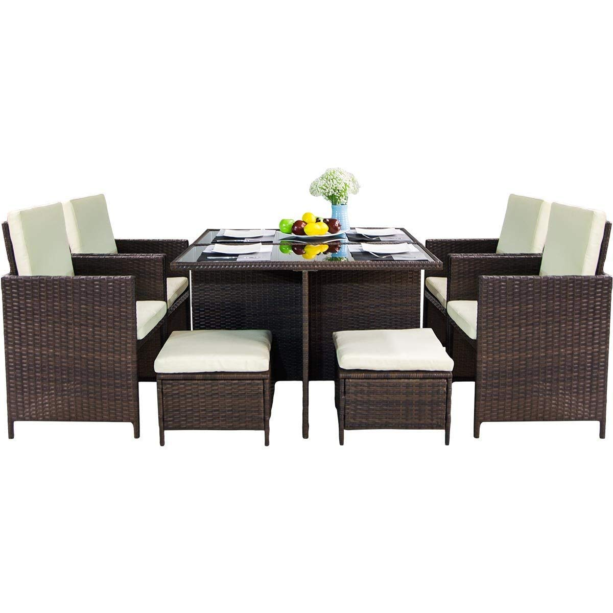 Amazon com leisure zone 9 piece outdoor furniture patio dining table set pe rattan wicker chairs conversation set with glass table cushions brown