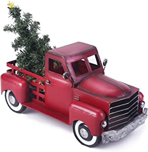 Vintage Red Truck Christmas Decor with a Lit-up Removable Christmas Tree Wrapped Around by LED Lights String, Farmhouse Metal Pickup Truck Decor, Great Gift for Holiday Decorations (Large Size)