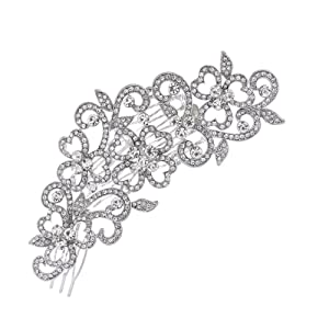 PROHAIR Hair Combs Trendy Plant Big Long Flower Wedding Bridal Hair Comb Accessories Rhinestone Crystals