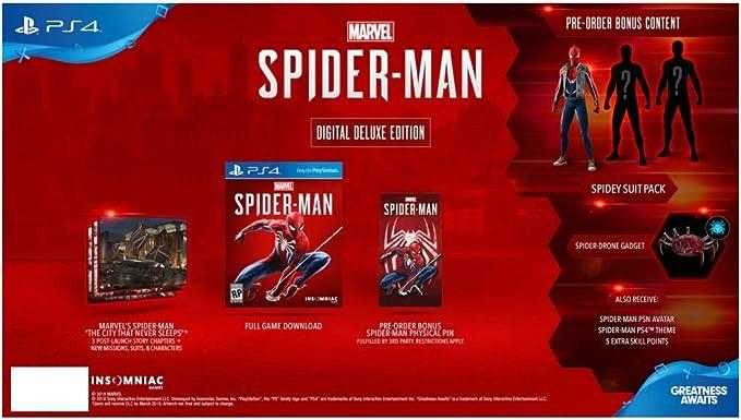 Sony Marvels Spider-Man Digital Deluxe Edition, PlayStation 4 vídeo - Juego (PlayStation 4): Amazon.es: Videojuegos