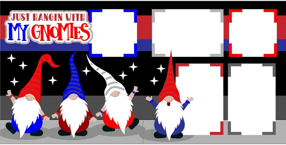 Just Hangin with My Gnomies Red,White /& Blue Scrapbook Page Kit