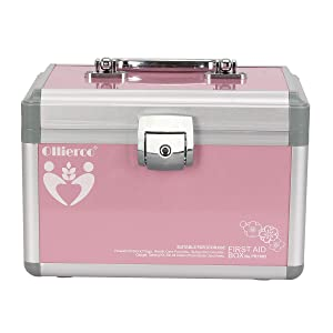 Ollieroo Small Medication Lock Box with Key Lockable Medicine Box Organizer Pink First Aid Box for Medical Supplies