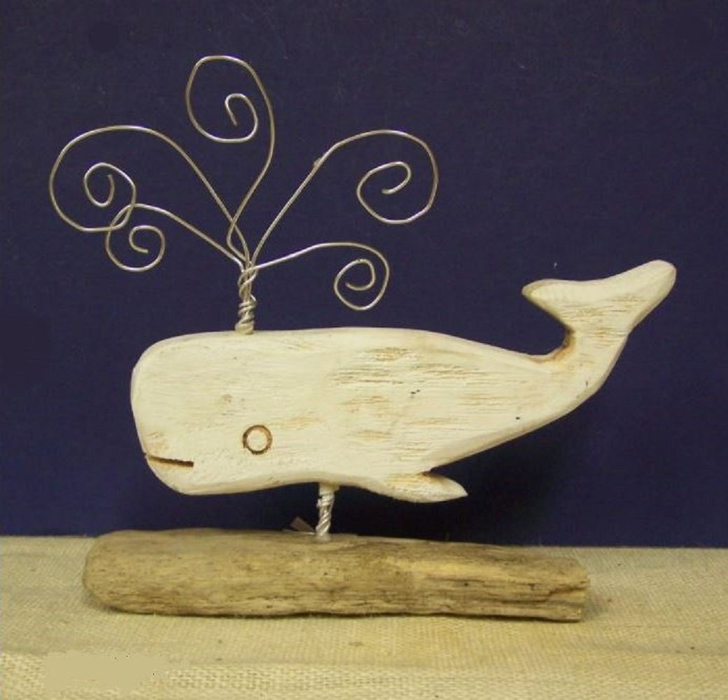 White Driftwood Whale with Cardholder Spouts