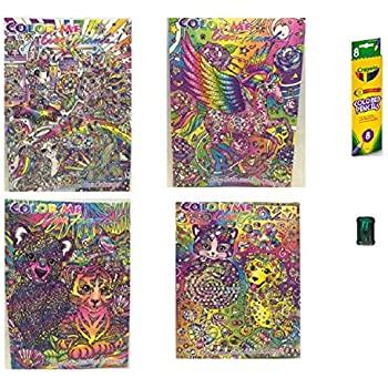 4 lisa frank adult color me coloring books coloring pencils sharpener bundle of - Color Me Books