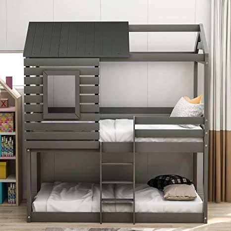 Amazon Com Low Bunk Beds Twin Over Twin Size Wood Bunk Beds With Roof And Guard Rail For Kids Toddlers No Box Spring Needed Grey Bunk Beds Twin Over Twin Kitchen Dining