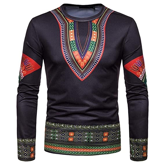 c4bbd3e42b26 Coohole Men's Autumn Winter O-Neck African 3D Print Long Sleeve Dashiki  Sweatshirt Top (