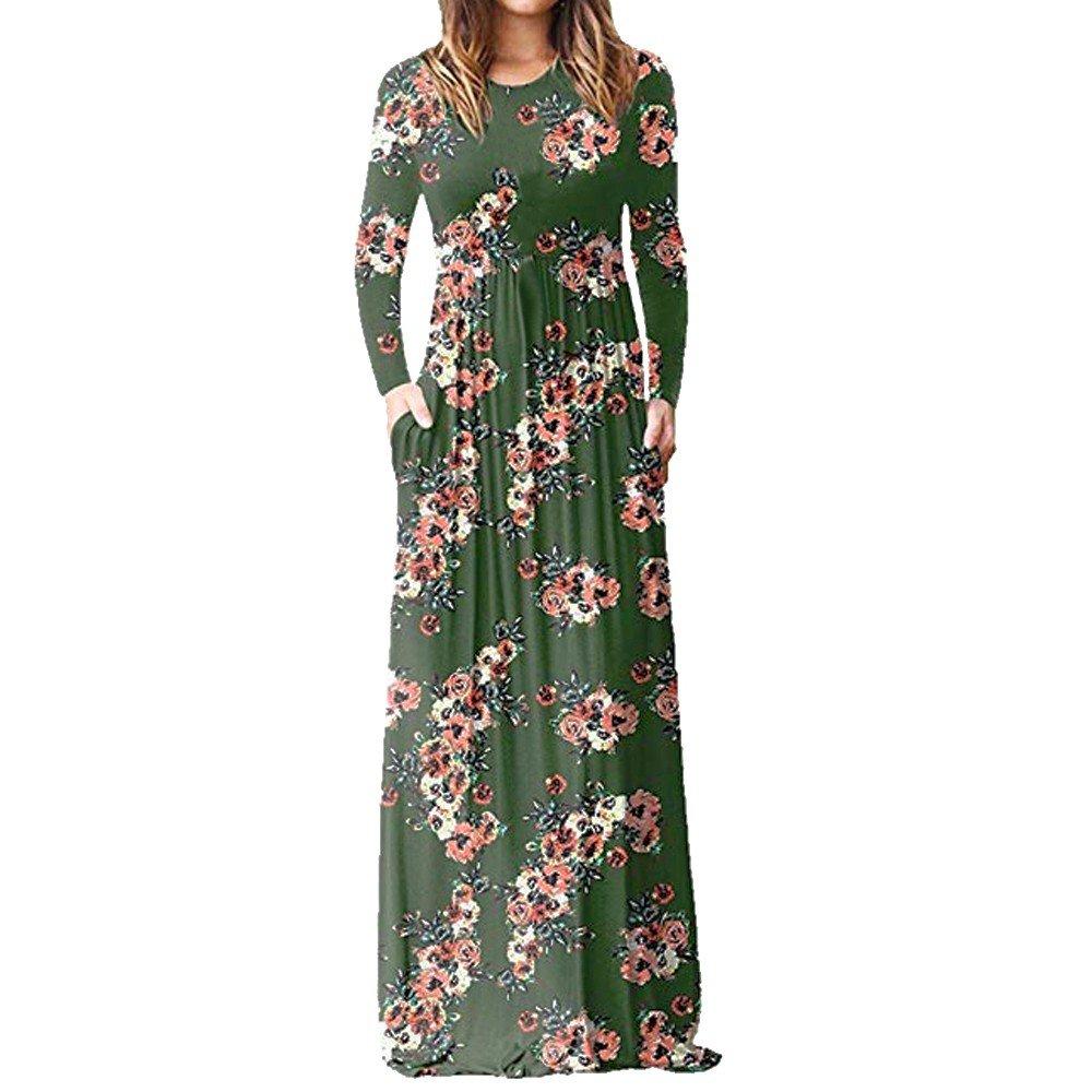 JESPER Womens Boho Long Sleeve Printed Pockets Pleated Tunic Loose Swing Casual Maxi Dresses Green