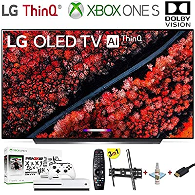 "LG Electronics OLED65C9PUA C9 Series 65"" 4K Ultra HD Smart OLED TV (2019) w/Xbox One S NBA 2K19 w/3 in 1 Wall Mount kit- Wall Mount, HDMI Cable, TV Cleaning Kit - LG Authorized Dealer"