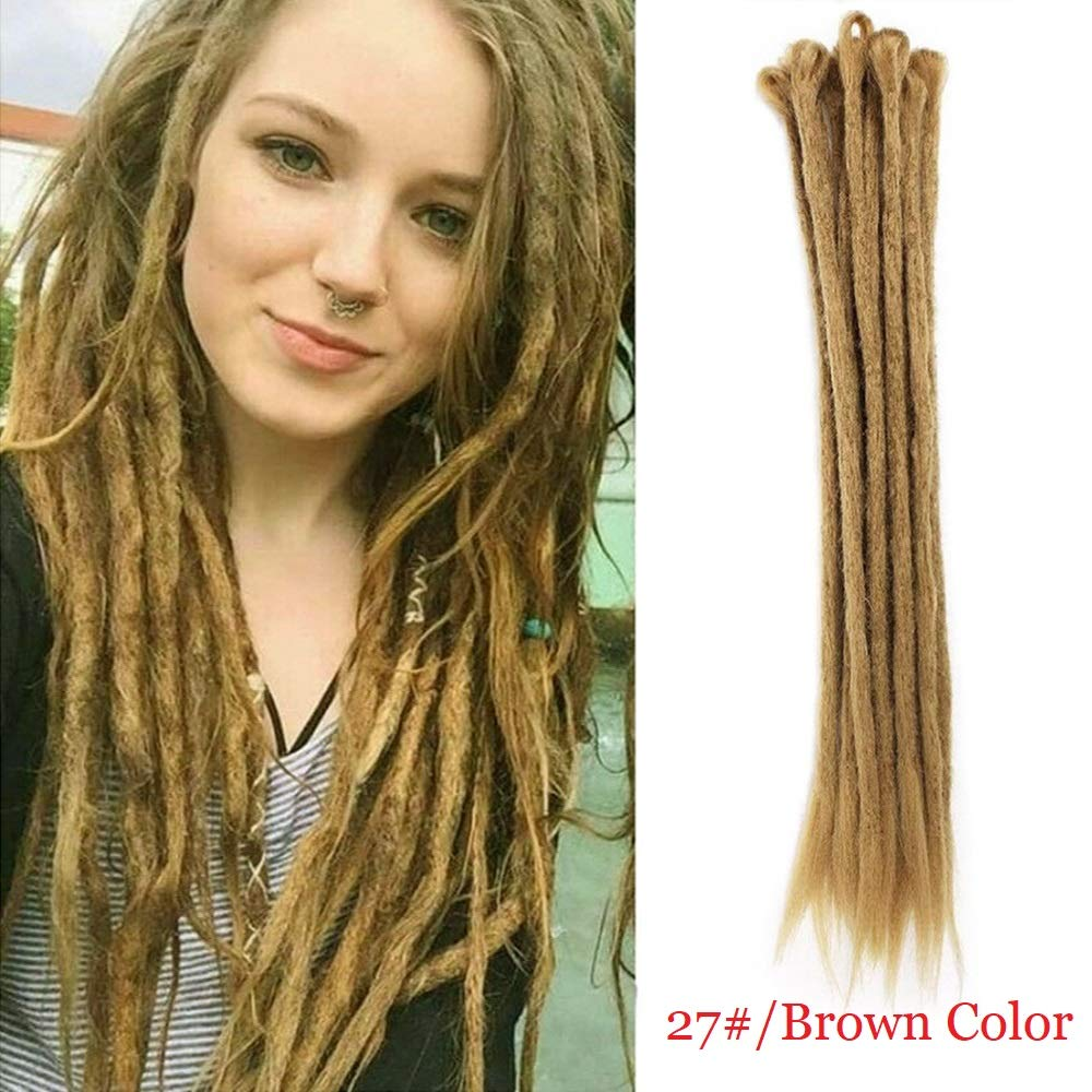 Dsoar Dreadlock Extensions Brown Synthetic Dreads 20 Inch 12 Strands  Handmade Dreadlocks Extensions Hippie Crochet Loc Extensions (Light Brown  Color)