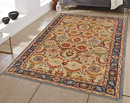 Allen Home Wool Rug 3'X5' 2.5X9' 5'X8' 8'X10' 9'X12' Alvira Beige Tufted Art and Crafts Persian Traditional Wool Rug Carpet (5'X8') ()