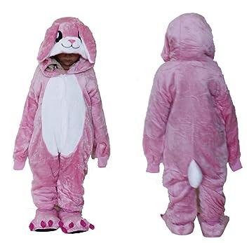 Forro Polar niños franela pijama enterizo rosa conejo traje de Cosplay capuchas Onesie Unisex/pijamas