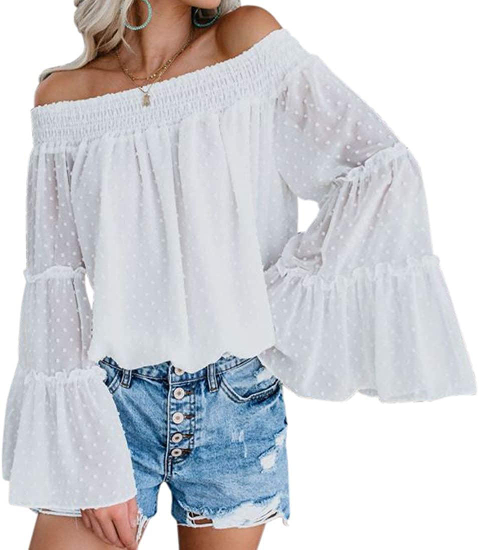 Women Shirred Off Shoulder Long Bell Sleeve Casual Tee Blouses Chiffon White 614DTqTpCgL