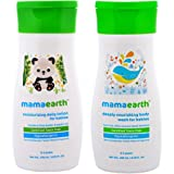 Mamaearth Daily Mousturizing Baby Lotion with  Deeply Nourishing Baby Wash(200ml each (0-5 Yrs)