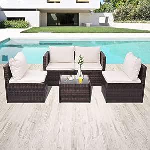 UnfadeMemory Muebles de Jardin Exterior con Cojines,4 Sofás+1 Mesa de Centro,Sofás de Jardín Terraza Balcón o Patio,Ratán Sintético,Marco de Acero (Marrón): Amazon.es: Hogar