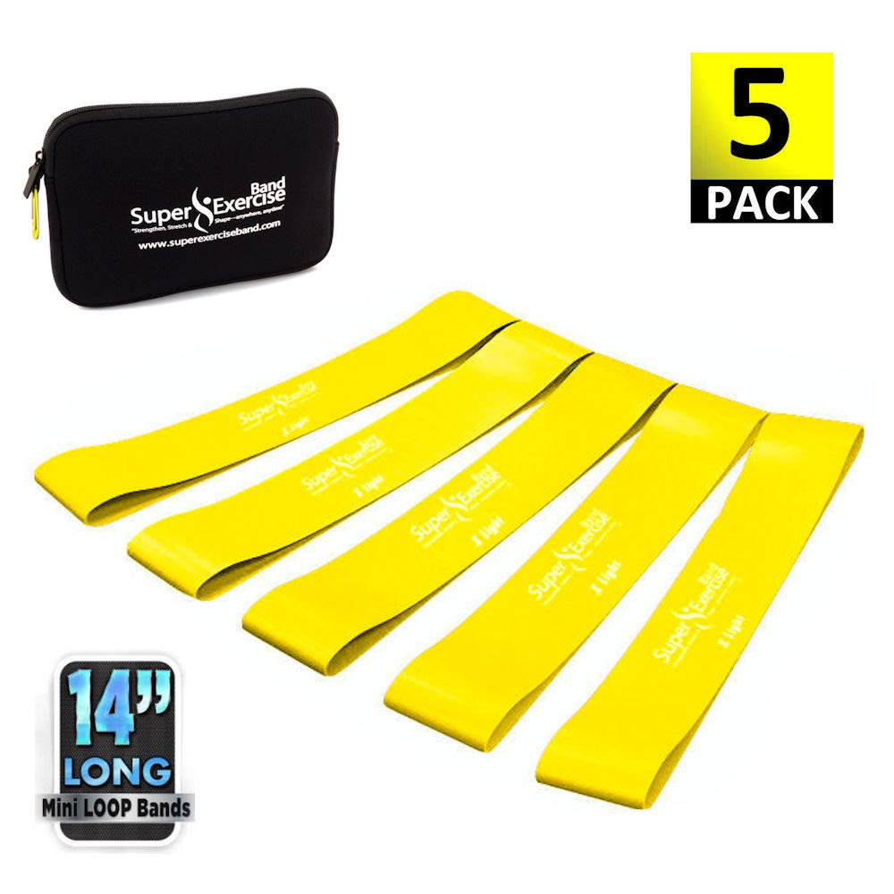 Super Exercise Band 5 Pack 14'' x 3'' Extra Long Yellow X Light Strength Mini Loop Bands. Non-Latex Resistance for Fitness, Physical Therapy, Pilates, and Strength Training.