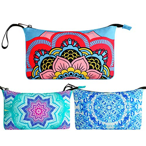 3PCS Cosmetic Bag Waterproof Fabric Mandala Toiletry Kit Makeup Pouch for Women with Zipper for Travel