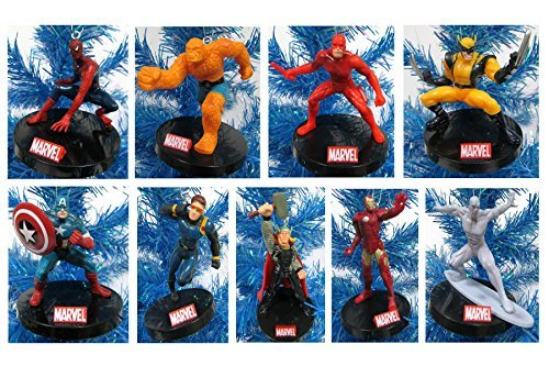 Marvel Super Hero Holiday Christmas Ornament Set - Unique Shatterproof Plastic Design by Holiday Ornaments -