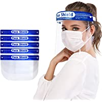 Protective Face Shield 5 Pack, Waterproof Dustproof Full Face Shield with Clear Wide Visor, Reusable Safety Face Shield…