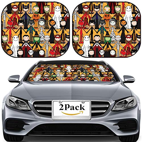 MSD Car Sun Shade for Windshield Universal Fit 2 Pack Sunshade, Block Sun Glare, UV and Heat, Protect Car Interior, Seamless Pattern Made of Illustrated Kids in Halloween Costumes Image ID 3218