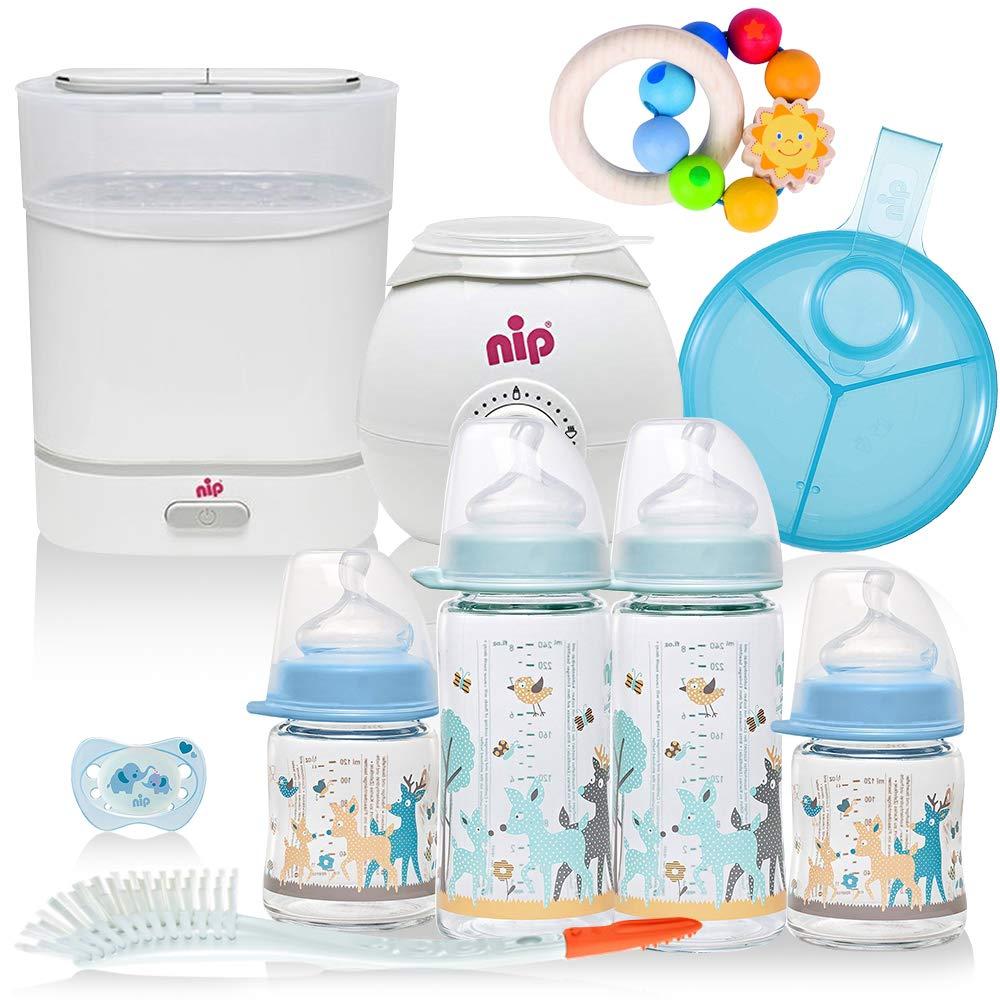 NIP/® Boys All-in One Premium Mega Set Starter Set mit Babyflaschen aus GLAS Sterilisator Flaschen-und Babykostw/ärmer ab Geburt Flaschen etc Milchportionierer Dampfgarer