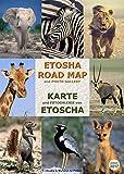 Carte détaillée et GALERIE PHOTOGRAPHIQUE DE L'ETOSHA, livret pratique A4, tous les chemins et points d'eau du parc, plus de 100 photos en couleur des animaux sauvages pour une identification facile