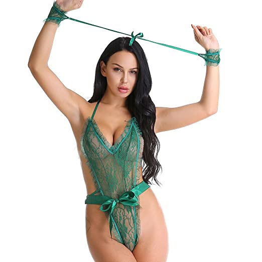1c0bb4dbcca Amazon.com: Sexy Lingerie for Women for Sex Women's Lingerie Lace Deep V  One Piece Teddy Bowknot Bodysuit Sleepwear (Free Size, Green): Clothing