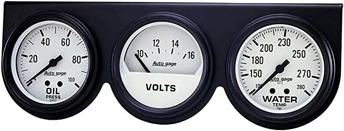 Auto Meter 2328 Auto Gage Black 2-5//8 Mechanical Three-Gauge Console