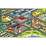 """KC CUBS Kev & Cooper Playtime Collection Road Map Educational Area Rug - 3'3"""" x 4'7"""""""
