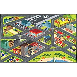 "KC CUBS Kev & Cooper Playtime Collection Road Map Educational Area Rug - 5'0"" x 6'6"""