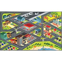 "KC CUBS Kev & Cooper Playtime Collection Road Map Educational Area Rug - 3'3"" x 4'7"""