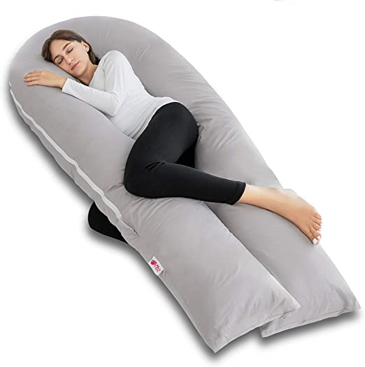 Meiz Full Body Pregnancy Pillow - with 300TC Comfy Pillowcase & Microfiber Inner Cover- for Back Support - King Size (Grey)