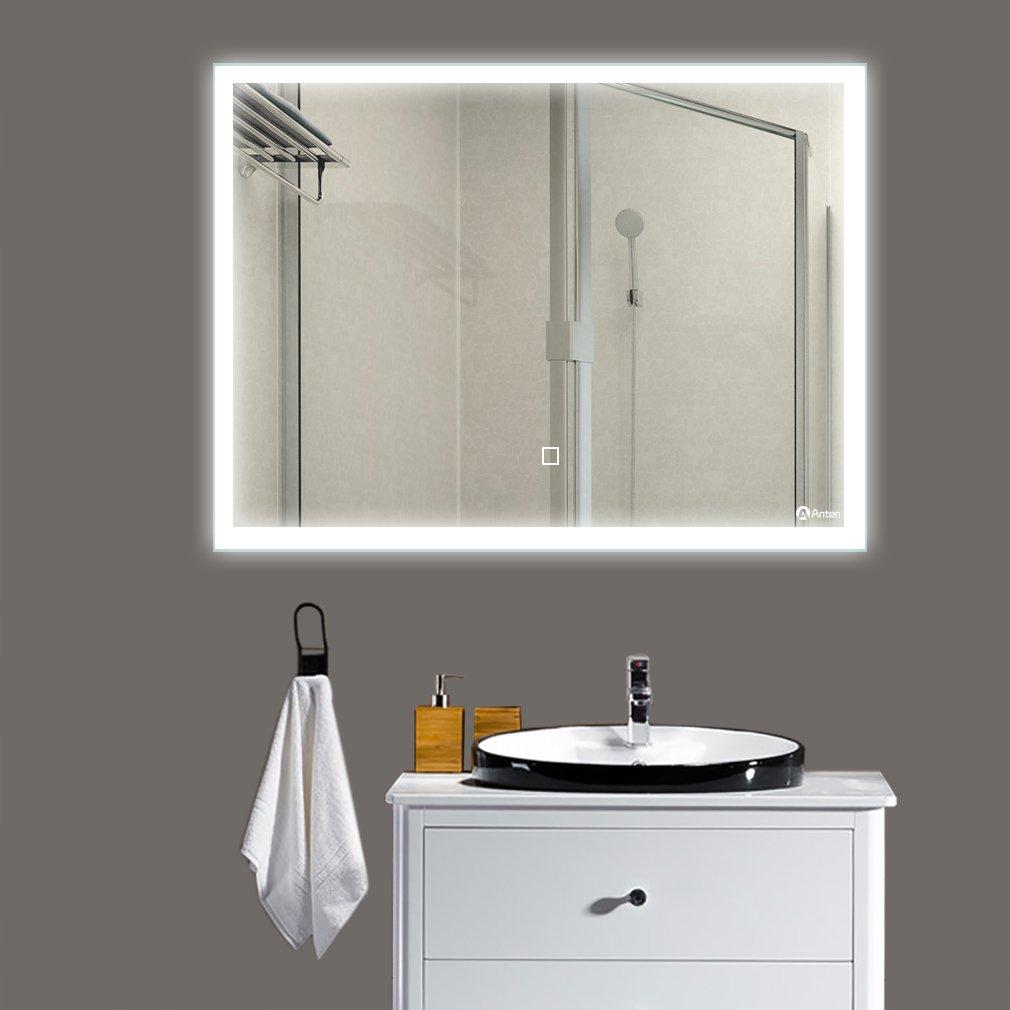 DM 80*60CM Miroir LED Orthogone 19W Blanc Froid 6000K Epaisseur de 4MM Lumineux Eclairage Intérieur Avec Commutateur
